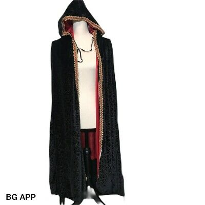 Black Velvet Hooded Long Cape Braided Trim Tie Closure Mint Condition