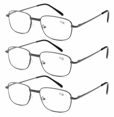 3 Pairs Rectangle Reading Glasses Metal Spring Hinges Readers + 1.0 ~ 3.5 GFA63