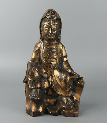 Chinese Exquisite Handmade Copper gilt Guanyin statue