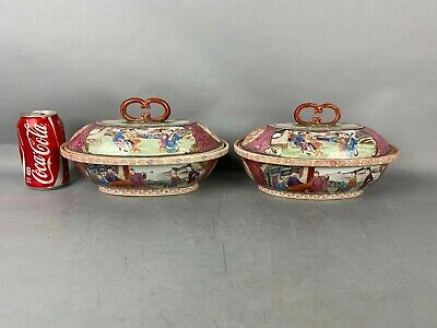18th C. QianLong Pair Chinese Rose-Medallion Covered Boxes, PENGHE