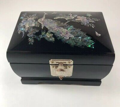 Black Lacquered Korean Jewelry Music Box with Mother of Pearl Peacock Gorgeous