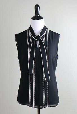 WHITE HOUSE BLACK MARKET NWT $79 Modern Contrast Piping Shell Top Size 2 Petite