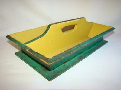 Antique Primitive Wood Cutlery Utensil KNIFE BOX CARRIER, Orig. Green Paint
