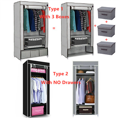 Fabric Canvas Wardrobe Clothes Cupboard Hanging Rail & Storage Drawers Organiser