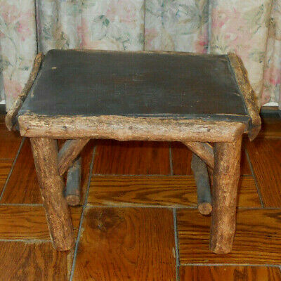 Antique vtg Primitive Wood step stool Foot Rest Table-tree branch-leather-rustic