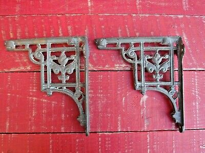 Pair Of Antique Cast Iron Cistern Brackets / Shelf Brackets ( Not Reproduction )