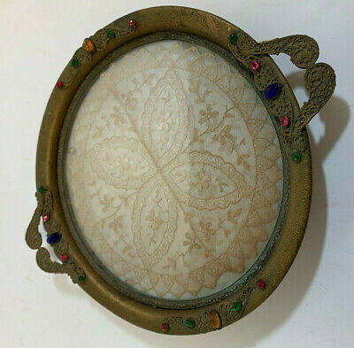 Antique Round Vanity Tray, Glass Over Lace with Filligree Brass Frame/ Stones
