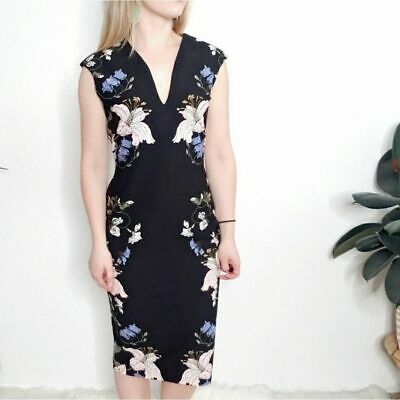 New York & Co Women's Small Petite Black Floral Pencil Sheath Cocktail Dress