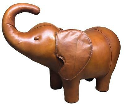 Large Handmade Leather Elephant Footstool / Stool -  79cm  x 71cm