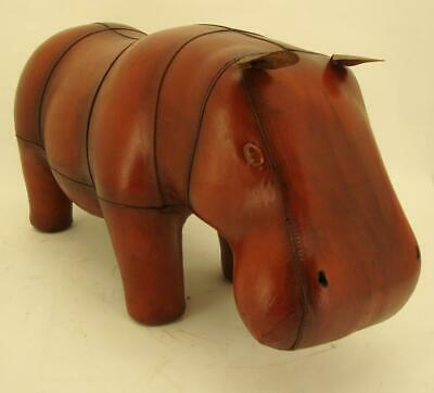 Large Handmade Leather Hippo Footstool / Stool - 78cm x 41cm