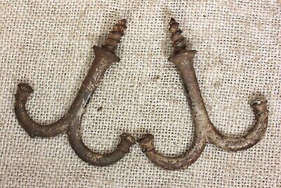 2 Coat Hooks under shelf cup hangers farmhouse very rusty old vintage 1880's