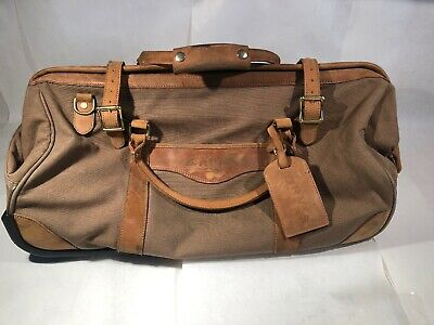 Genuine Orvis Light Brown Canvas Rolling Bag With Leather Accents -Free Shipping