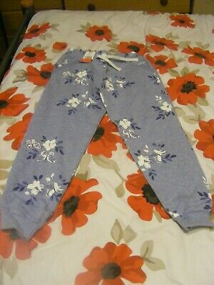Bnwt Girls Blue Floral Tracksuit Bottoms, 7-8 Years