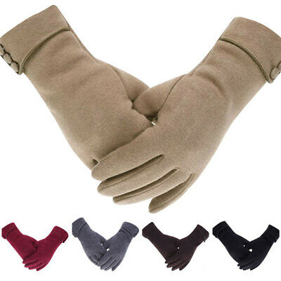 Women Windproof Warm Gloves Cashmere Fleece Lined Touch Screen Winter Mittens