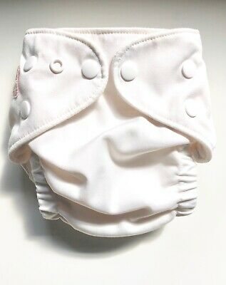 Fuzzibunz One Size Small Adjustable Pocket Cloth Diaper in White, No Insert