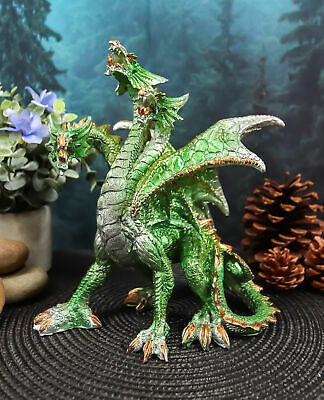 "Green 3 Headed Dragon Hydra Legend Roaring Statue 8""H Dungeons And Dragons Art"