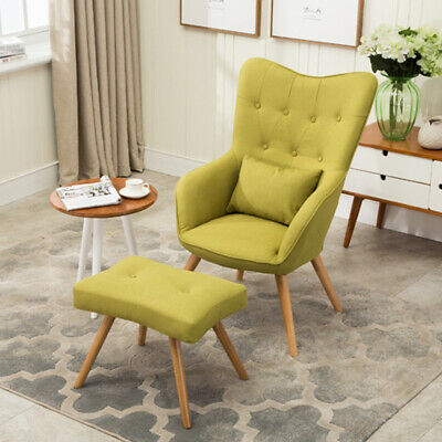 High Wing Back Tub Chairs Fabric Armchair Occasional Accent Chair w/No Footstool