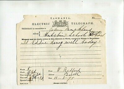 Tasmania Electric Telegraph 1875 Hobart