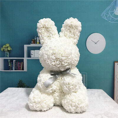 2020 New Lovely Rose Flower Rabbit Bear Toys Teddy Birthday Valentine Lover Gift