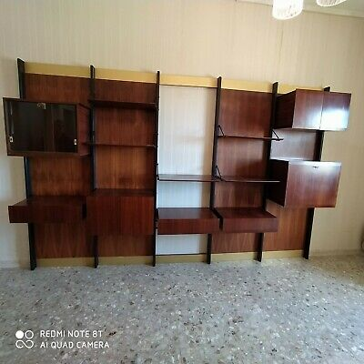 Italian bookcase in wood and brass 50s, 60s