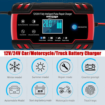 8 Amp Intelligent Car Battery Charger Pulse Repair Starter 12V/24V AGM/GEL NEW