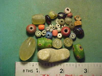 25+ Ancient beads circa 1000 BC- 1700 AD +  an ancient Roman foot