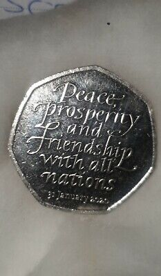 Rare January 2020 Brexit Peace and Prosperity 50p coin ~ with Free Postage