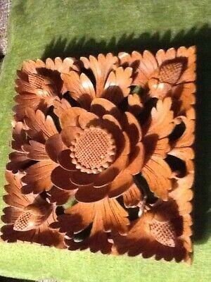 Balinese Suar Wood Signed Lotus Blossoms Handcarved  For Your Wall