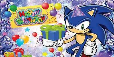 Happy Birthday Sonic The Hedgehog Banner Vinyl Party 2x4 Feet 24x48in 20 00 Picclick