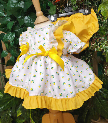 Dream Spring Gold Tulips  Short Spanish Puffball Girls Dress And Pants Set