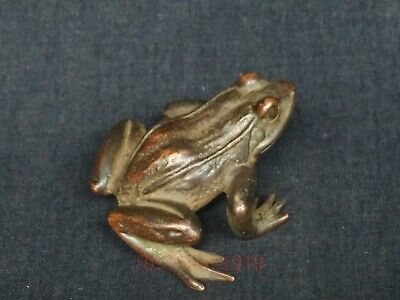 Collection China Old Bronze Carving Lovely Frog Statue Paperweight Decoration