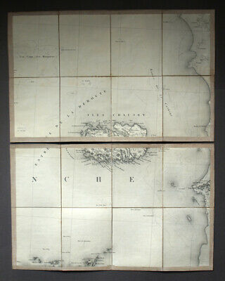 All Islands of Chausey, Granville Cards Geographical Antique Plans 19eme