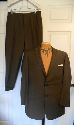 Vintage 50s Army Green Checked Wool Suit Varsity Town C42 Cuffed Pleated