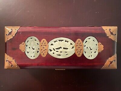 "Vintage Chinese Rosewood Jewelry Trinket Box Jadeite Medallion Brass Trim 10""x4"""