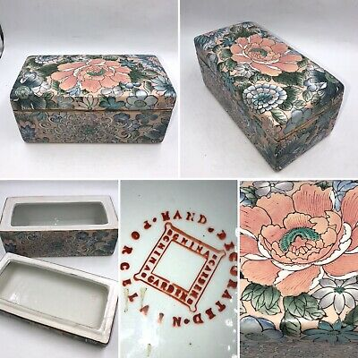 Vintage Oriental Flower Design Ceramic Trinket Tissue Box Display Gift