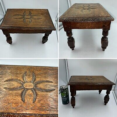 🌟Antique Oak Hand Carved Small Decorated Foot Stool Stand Rustic Country Shabby