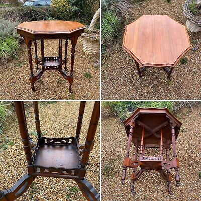 🌟Antique Edwardian 2 Tier Octagonal Table Sturdy Wooden Occasional Side Castors