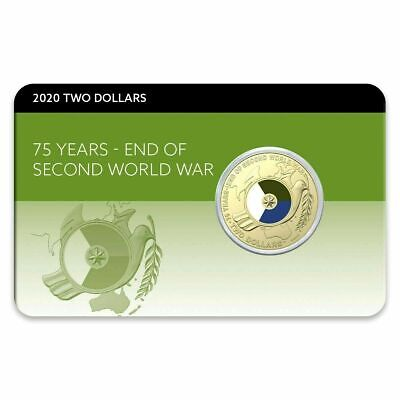 2020 Anniversary End of WWII (WW2) -  coloured $2 in coin pack