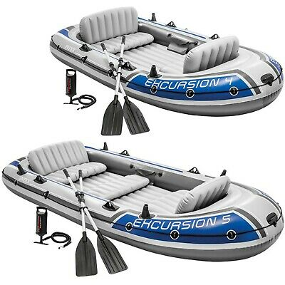 4/5 Person Intex Excursion Inflatable Boat Set with Aluminium Oars and Pump