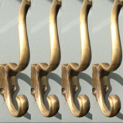 "4 COAT HOOKS door solid brass furniture vintage age old style heavy 5 "" patina"