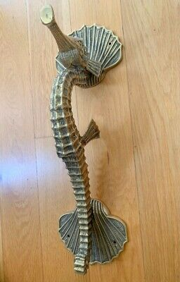 "used aged Massive 60cm SEAHORSE pure AGED brass door old style PULL handle 24""B"