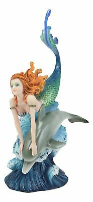 Sea Nautical Red Haired Mermaid Riding Dolphin Over The Ocean Waves Statue Decor