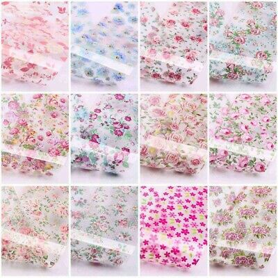 DIY 12 Sheets Nail Art Foils Stickers Flower Pattern Transfer Decals Decoration