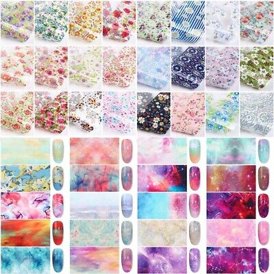 12 Sheets Nail Art Foils Stickers Flower Pattern Transfer Decals Decoration DIY