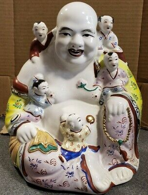 "Vintage Porcelain Laughing Buddha With Children Statue 9""H x 7""W  FREE SHIPPING"