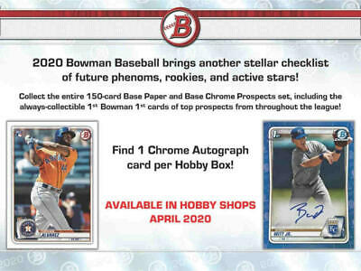 2020 Bowman Baseball Hobby Box (24 Packs/10 Cards: 1 Auto, 1 Refractor, 19 Ins)