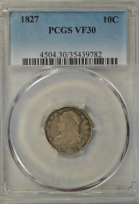 1827 Capped Bust dime, PCGS VF30