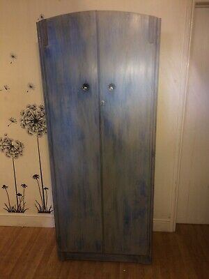 1950s oak shabby chic wardrobe light grey over blue(for delivery  see listing)