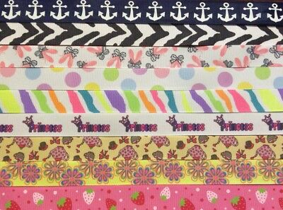 Grosgrain 40 yards prints, dbl.ruffle,solid, polka dots 7/8 inch CLOSEOUT 40 YDS