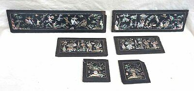 Chinese Mother of Pearl Inlayed Rosewood Panels Set of 6 19th C